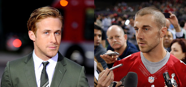 Left: Ryan Gosling (Frazer Harrison/Getty Images) Right: Alex Smith (Chris Graythen/Getty Images)