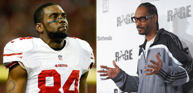Left: Randy Moss (Kevin C. Cox/Getty Images) Right: Snoop Dogg. (Alberto E. Rodriguez/Getty Images)