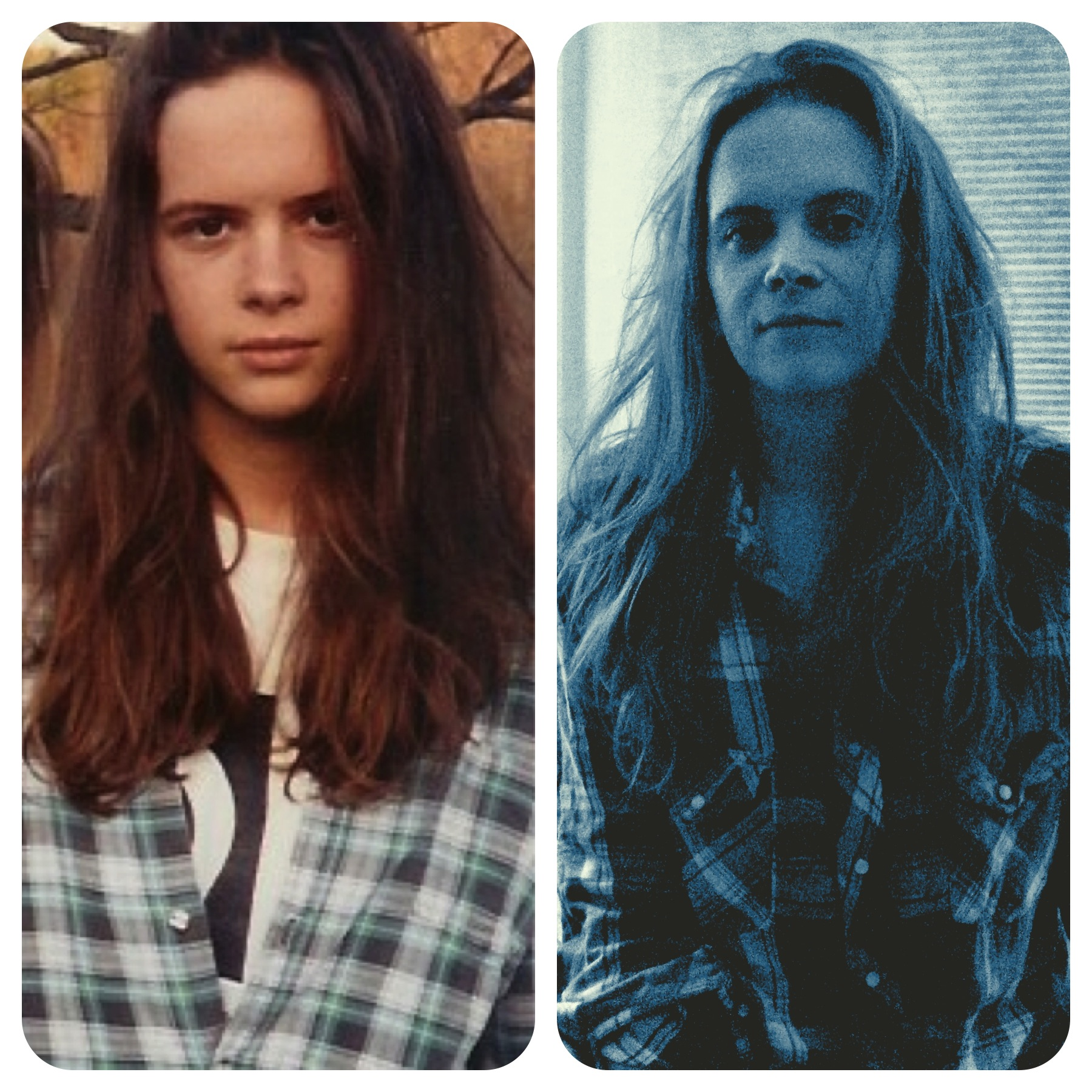 Me at 14 v. Me at 34. Believe it or not there was a decade where my hair was other colors and lengths and I never wore flannel.
