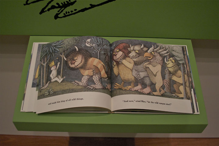Where the Wild Things Are book on display at the Walt Disney Museum
