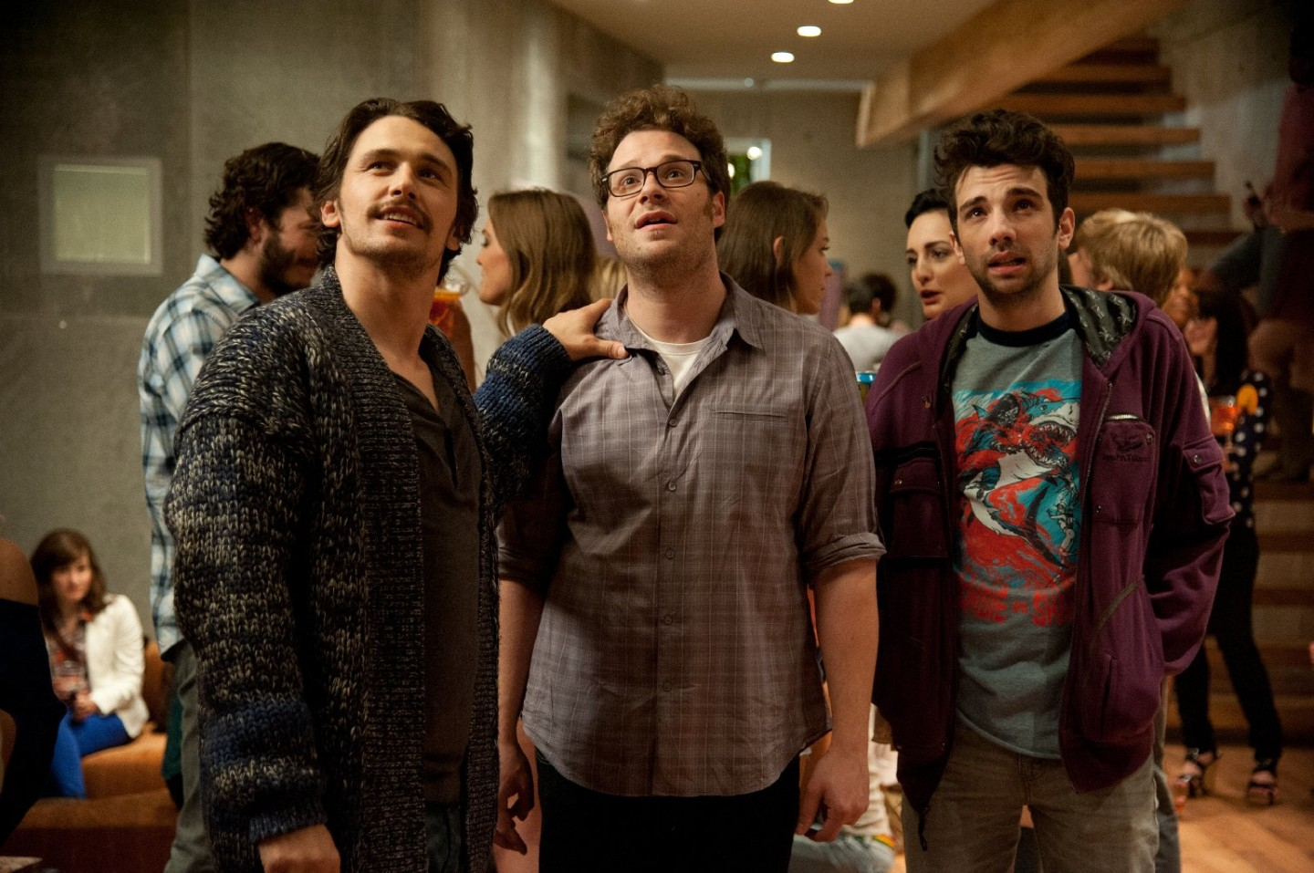 "L-r, James Franco, Seth Rogen and Jay Baruchel in Columbia Pictures' ""The End of the World."""