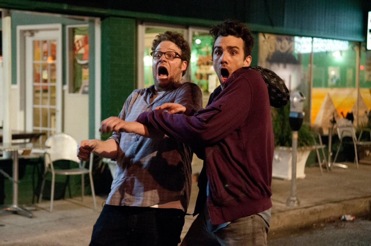 "Seth Rogen, left, and Jay Baruchel in Columbia Pictures' ""The End of the World."""