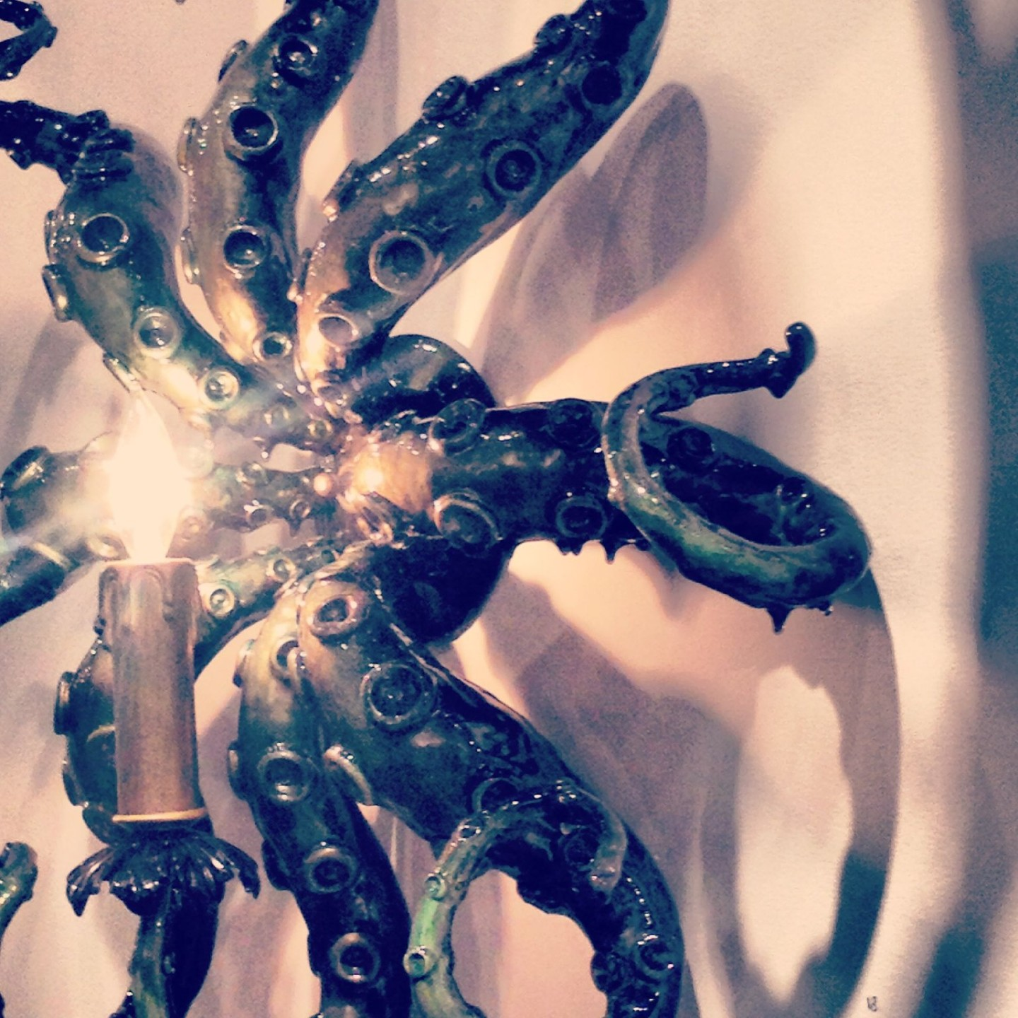 Octopus chandelier by artist Adam Wallacavage at The Shooting Gallery