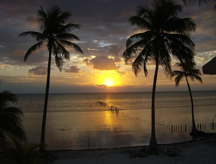 Sunrise over Xcalak, Quintana Roo, Mexico.
