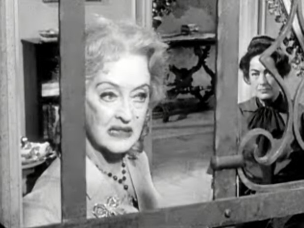 "Screen shot of Bette Davis and Joan Crawford in ""Whatever Happened to Baby Jane"" (Wikicommons)"
