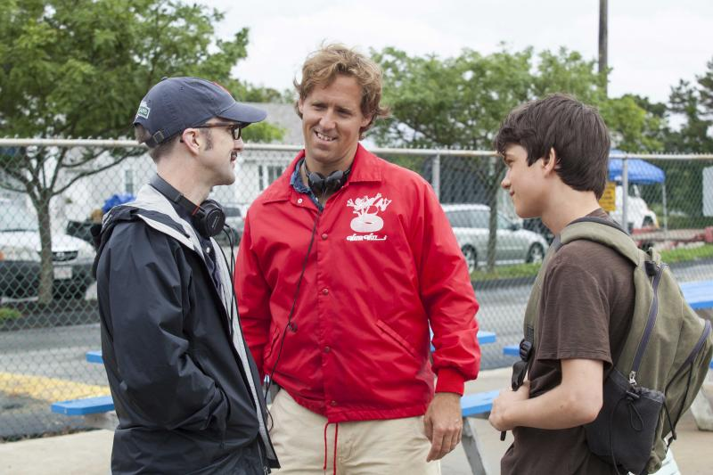Filmmakers Jim Rash and Nat Faxon with Liam James on the set of THE WAY WAY BACK. Photo courtesy of Fox Searchlight.