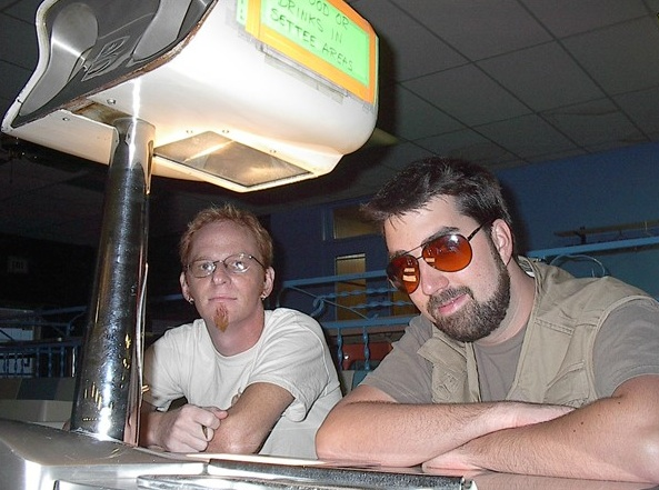 Lebowski Fest founder Will Russell, right, in 2002, courtesy of lebowskifest.com