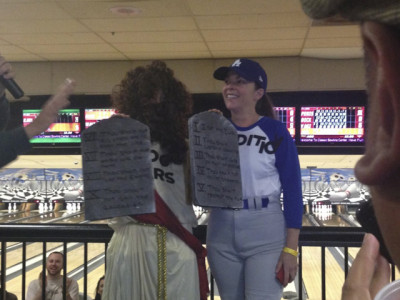 "Best group costume: ""2000 years of beautiful tradition from Moses to Sandy Koufax."""