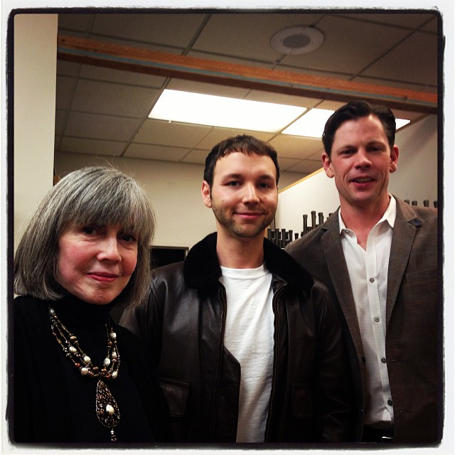 Anne Rice, Christopher Rice and KQED Pop's Tony Bravo between them.