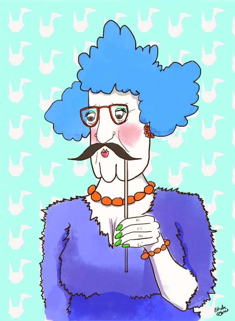 mustache grandma