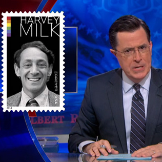 Stephen Colbert Outraged Over Harvey Milk Stamp