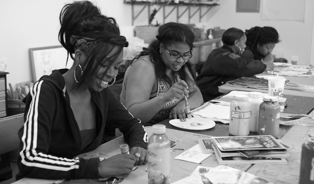 Mariah Johnson (L) works on an art project. Photo: David Jerrett