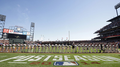 The San Francisco Giants line up during pre-game ceremonies for Game Three of the National League Division Series against the Washington Nationals at AT&T Park on October 6, 2014 in San Francisco, California. (Photo by Ezra Shaw/Getty Images)