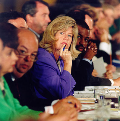 Tipper Gore during the PMRC Senate hearings in 1985.