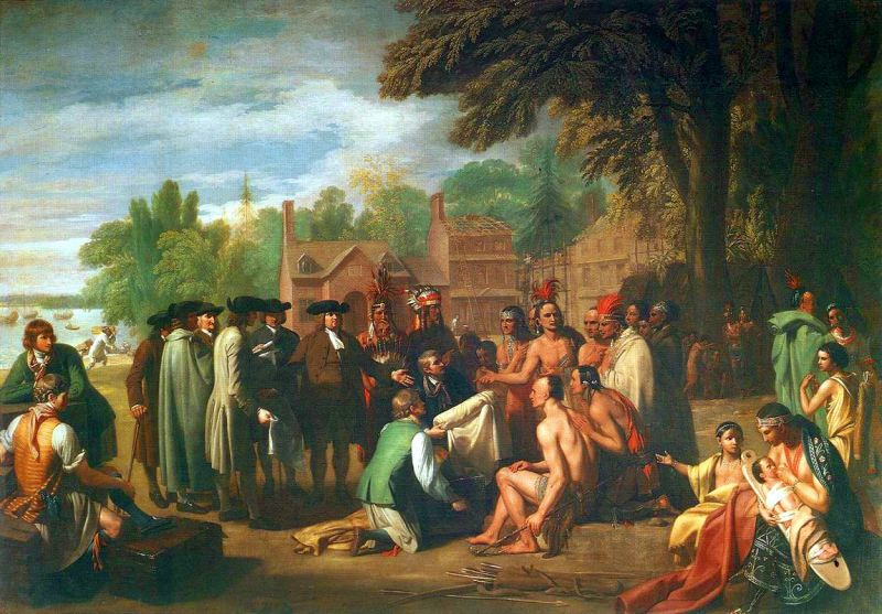 Tamanend negotiating with William Penn. Photo: Wiki Commons