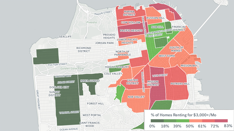 MAP: San Francisco Rent Prices Most Expensive in the Nation ... San Francisco Rent Map on san francisco rent chart, abu dhabi rent map, san francisco ca, heat map, austin rent map, san francisco rent rates, san francisco neighborhoods to avoid, portola ca map,