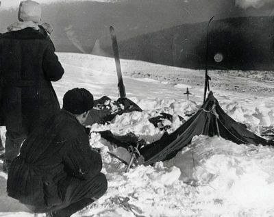 Investigators at the site of the Dyatlov Pass Incident.