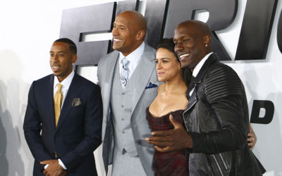 Ludacris, Dwayne Johnson, Michelle Rodriguez and Tyrese Gibson at the Hollywood premiere of 'Furious 7'