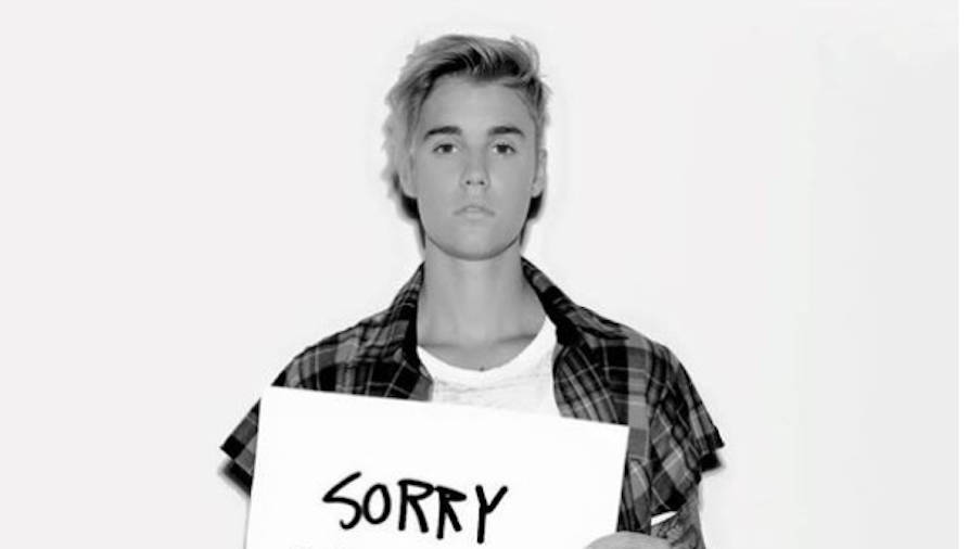 The Biebs, begging for forgiveness -- which, of course, he promptly received.