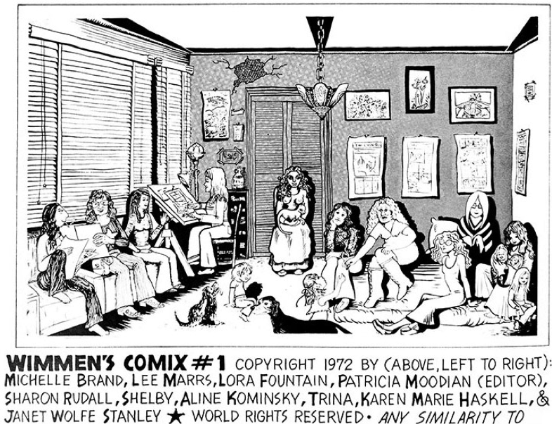 Self-portraits of the founding members of Wimmen's Comix, as appeared in issue #1.
