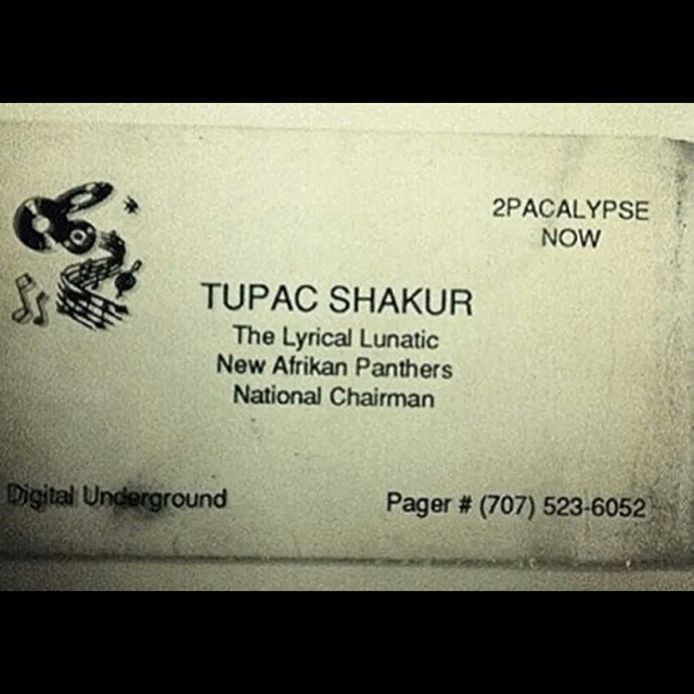Tupacs business card.