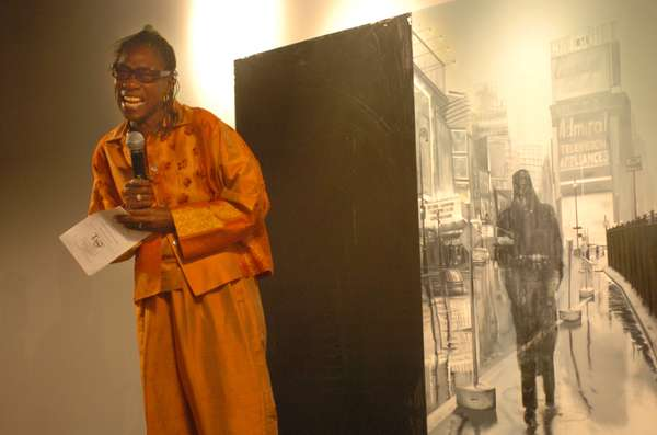 Afeni Shakur speaks to a crowd at the center named for her son in 2005.