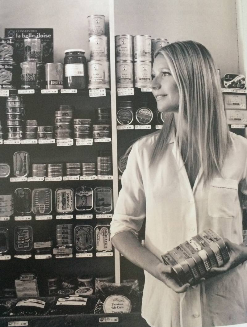 Who looks beautiful holding cans of sardines? Gwyneth Paltrow looks beautiful holding cans of sardines.
