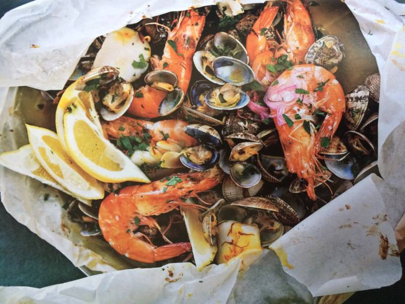 "Here is a seafood-and-sherry dish one is supposed to be able to make at the last minute if one has ""unexpected guests"""