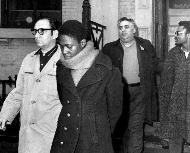 Afeni Shakur is escorted from a police station in New York in1969 after her arrest.