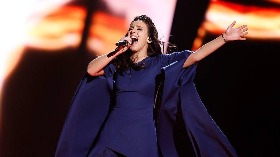"Jamala representing Ukraine performs the song ""1944"" at the Ericsson Globe on Saturday in Stockholm, Sweden"
