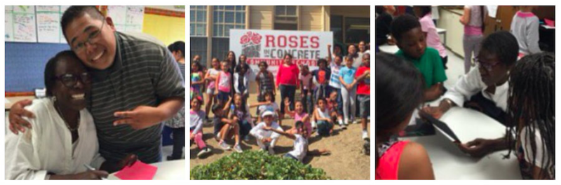 Afeni Shakur visits Roses in Concrete Community School in Oakland.