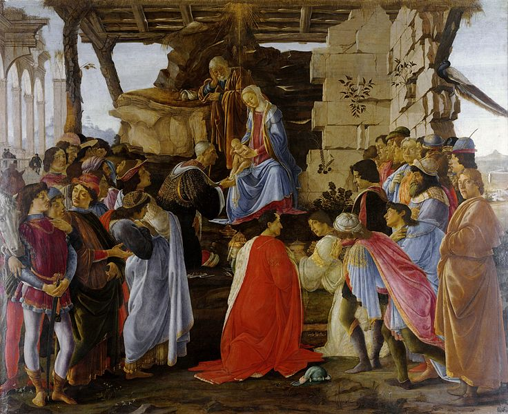 Crafty (or cheap?) old Botticelli, sneaking himself into his Adoration of the Magi (ca.1475), far left