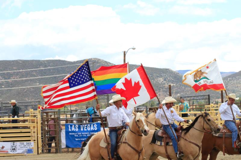 "Canada put the ""I"" in the International Gay Rodeo Association. These cowboys are standing by waiting for the ""riderless horse"" to pay tribute to those who have passed."