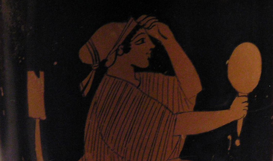 Detail from an Ancient Greek Attic red-figure lekythos depicting a Seated woman holding a mirror, c. 470–460 BC, National Archaeological Museum, Athens