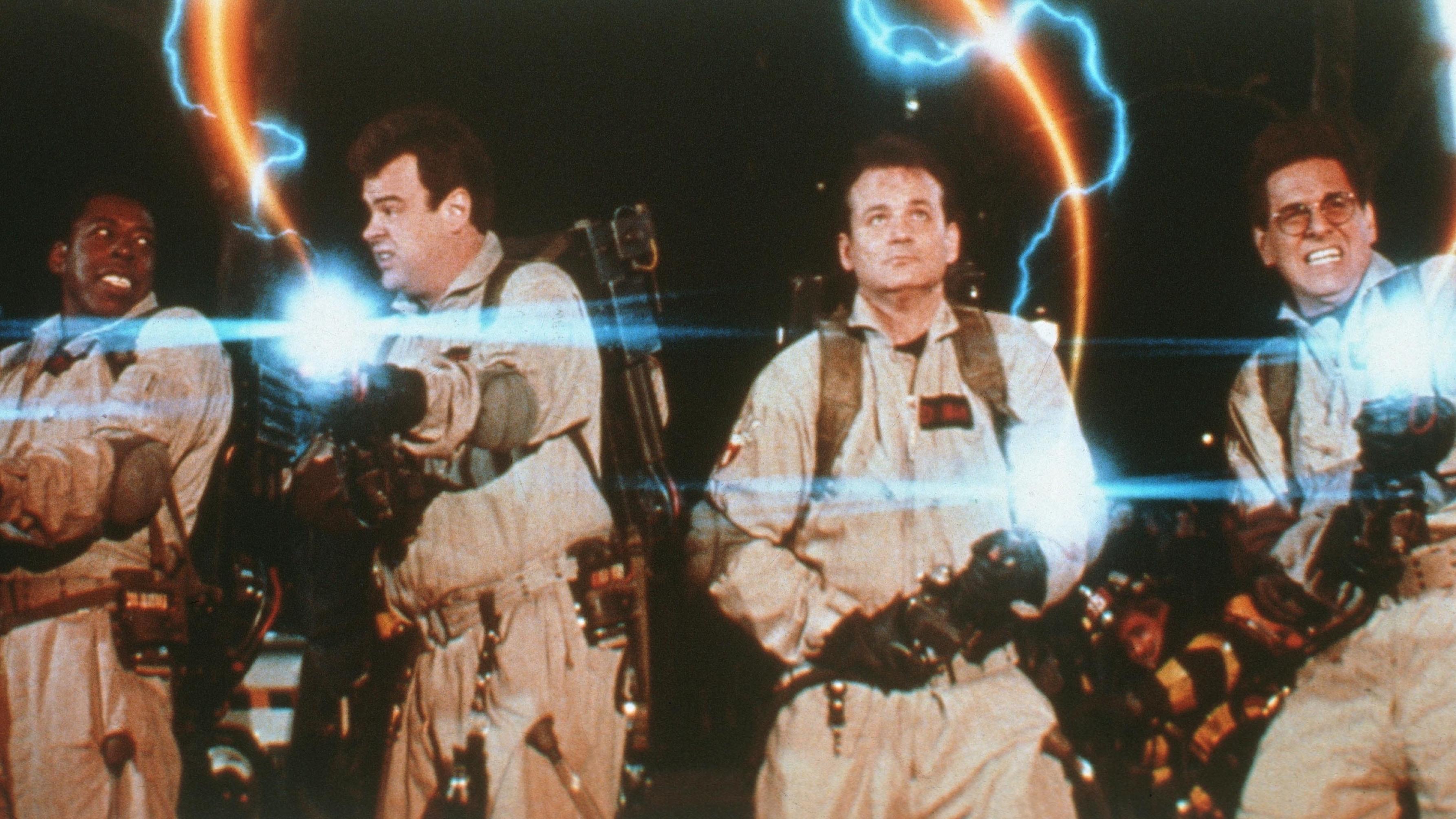 Ernie Hudson, Dan Aykroyd, Bill Murray, and Harold Ramis in 1984's Ghostbusters.