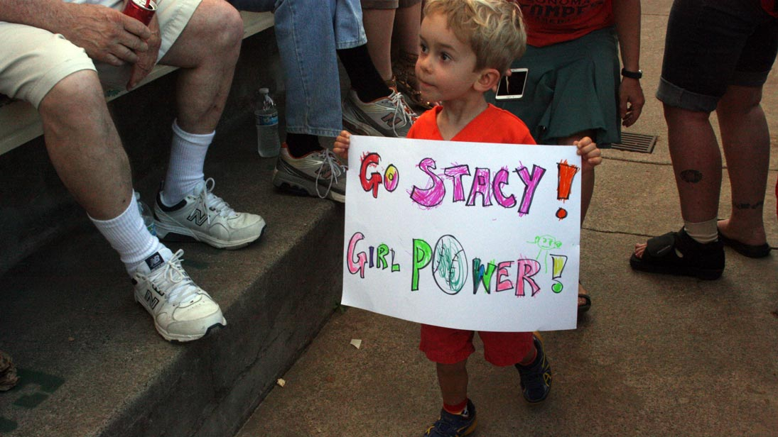 A young fan of Stacy Piagno in Sonoma, July 1, 2016.