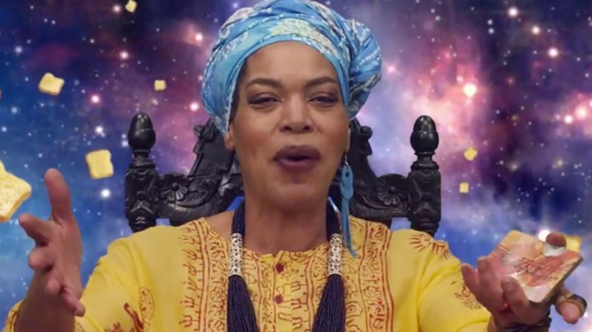 Miss Cleo, using her psychic powers to shill for French Toast Crunch.