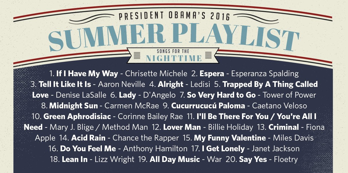 obama nighttime playlist