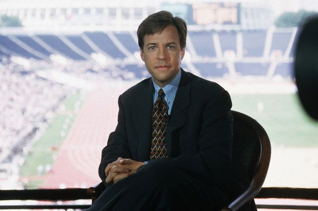between July 19 and August 4, 1996, Atlanta, Georgia, USA --- Bob Costas Broadcasting the 1996 Olympic Games --- Image by © Wally McNamee/CORBIS
