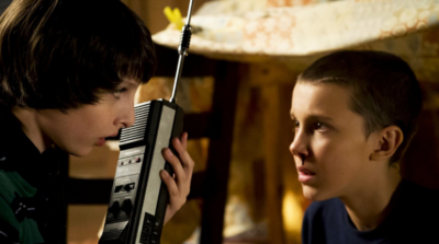 Millie Bobby Brown and Finn Wolfhard in Stranger Things. (Photo: Netflix)