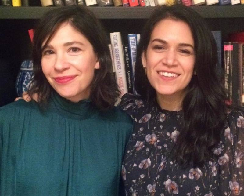 Carrie Brownstein and Abbi Jacobsen backstage at the Nourse Theater.