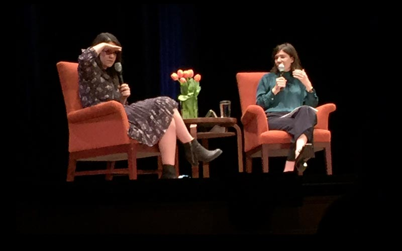 Abbi Jacobsen and Carrie Brownstein at the Nourse Theater, Oct. 29, 2016.