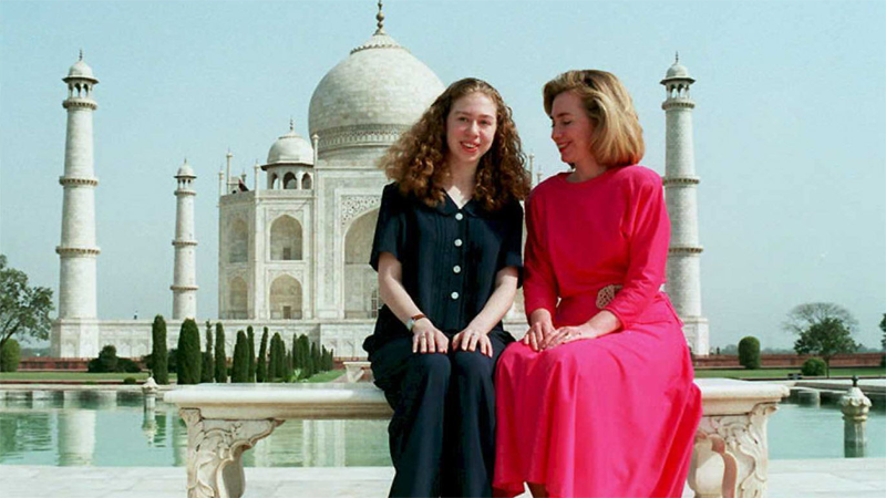 Hillary and Chelsea Clinton visit the Taj Mahal in 1995.