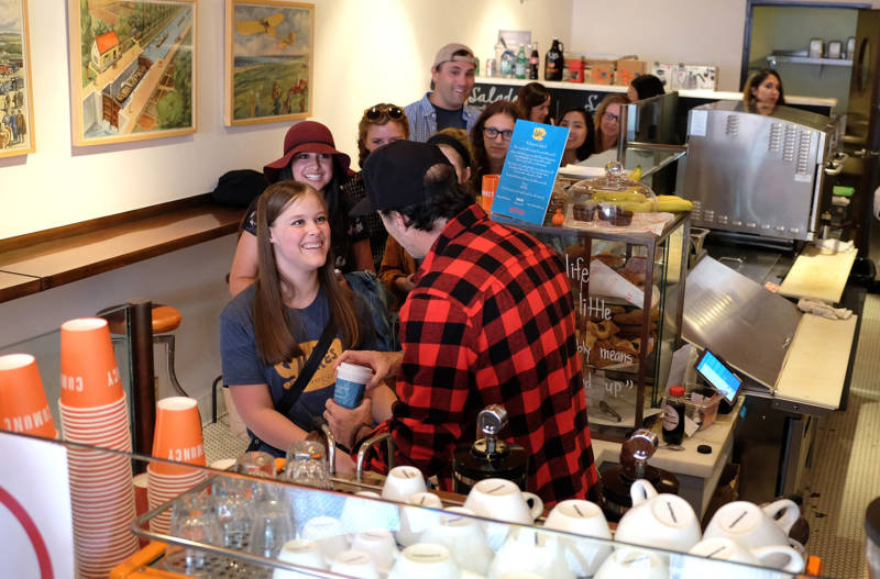 "Actor Scott Patterson hands out coffee at a ""Gilmore Girls"" themed pop-up of Luke's Diner on Oct. 5th in Beverly Hills, Calif. Pop-ups were scheduled throughout the country."