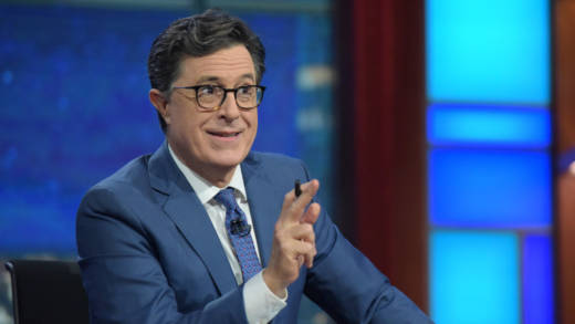 "For Stephen Colbert, taking over as host of The Late Show was not a hard decision. ""I love a live audience,"" he says. ""I love the grind of every day and I love the people I work with."""
