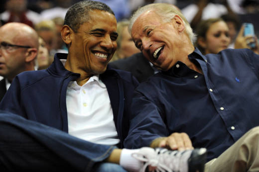 President Obama and Vice President Biden watching the a basketball game in July 2012 in Washington, DC.