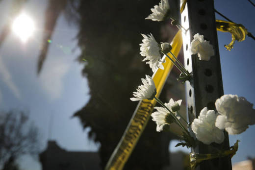 Flowers outside the police line following the fire at Ghost Ship, an Oakland warehouse. Flowers outside the police line following the fire at Ghost Ship, an Oakland warehouse.