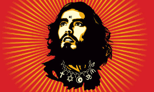 Detail from a poster for 'Russell Brand: Messiah Complex,' a live recording of his performance from London's Hammersmith Odeon.