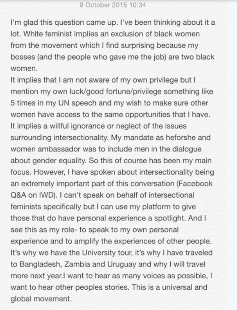 Watson's response to charges of not being intersectional enough