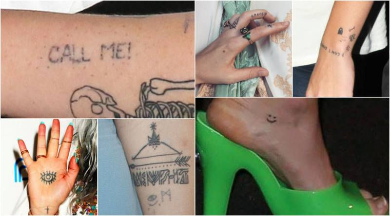 Stick and poke tattoos a guide to whos got them and how to do them top line irelands arm florences hand harrys wrist bottom line keshas hand jemimas arm mileys foot solutioingenieria Image collections